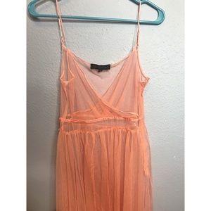 Whimsical peachy/pink maxi dress.